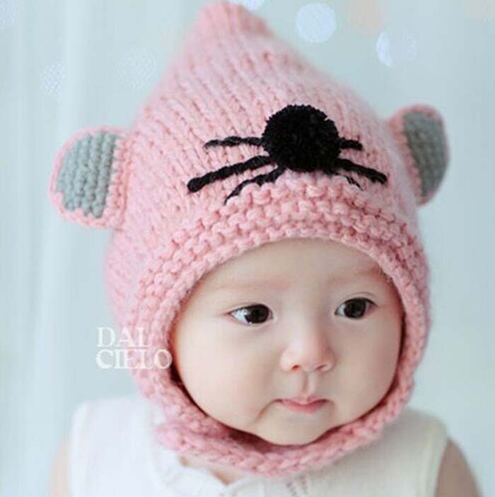 2014 New Cute mouse Wizard Children Fur Hats boy girl Winter wool Hat baby Kids Earflap Cap FOR 1-4 Years Old 2017 new elecom 2 4g mini mouse vwith charging for home office general balls the mouse girl