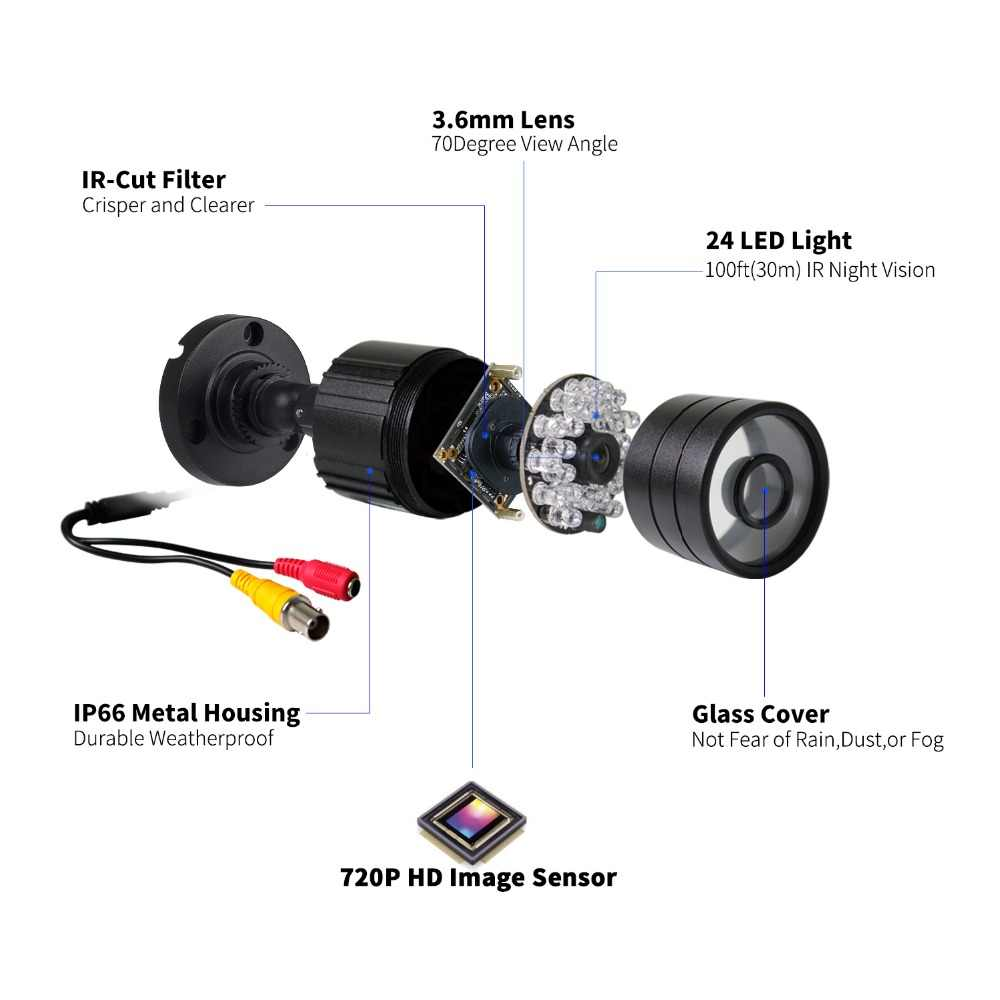 Système de caméra de sécurité extérieure défaiway 1080N DVR 1200TVL 720 P HD 1 to disque dur 4CH DVR Kit de Surveillance CCTV AHD ensemble de caméra