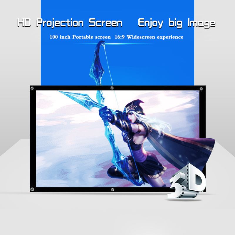 Everyone Gain 100 inch HD Projector Screen Flexible Foldable Projection Screen Portable Screen for Projector fast free shipping 100 4 3 tripod portable projection screen hd floor stand bracket projector screen matt white factory supply