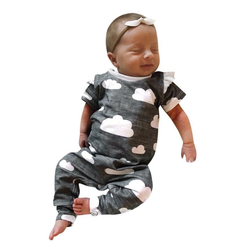 High quality Spring Toddler Newborn Baby Boys Girls Clouds Print Short Sleeve Romper Jumpsuit Outfits Clothes cute Comfortable cute newborn baby girl clothes set short sleeve letter print short sleeve romper bodysuit ruffled legging warmers headband suit