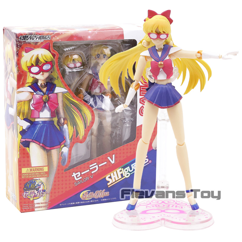 SHF S.H.Figuarts Sailor Moon Sailor V Venus Minako Aino PVC Action Figure Collection Model Kids Toys Doll Gift shf s h figuarts sailor moon black lady pvc action figure collectible model toy