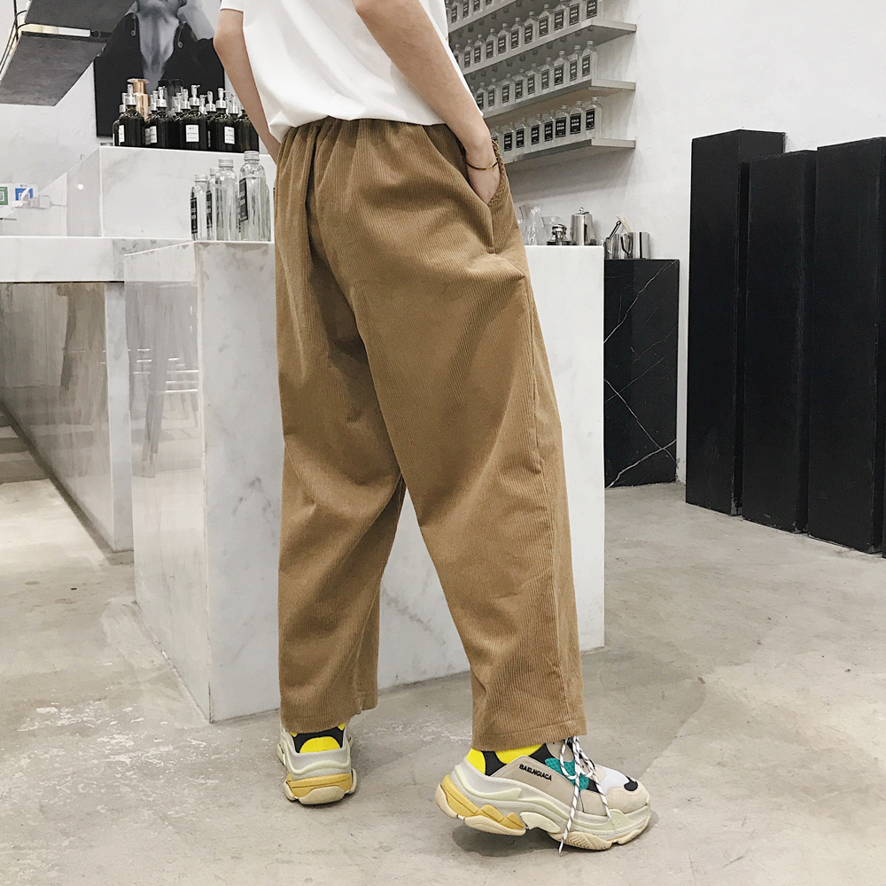 Mannen Corduroy Casual Wijde Pijpen Pant Mannelijke Vrouwen High Street Fashion Hiphop Losse Harembroek
