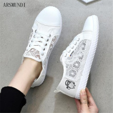 ARSMUNDI 2019 Women Shoes Light Sneakers Air Mesh Tenis Feminino Casual Vulcanize Breathable Trainers White M581