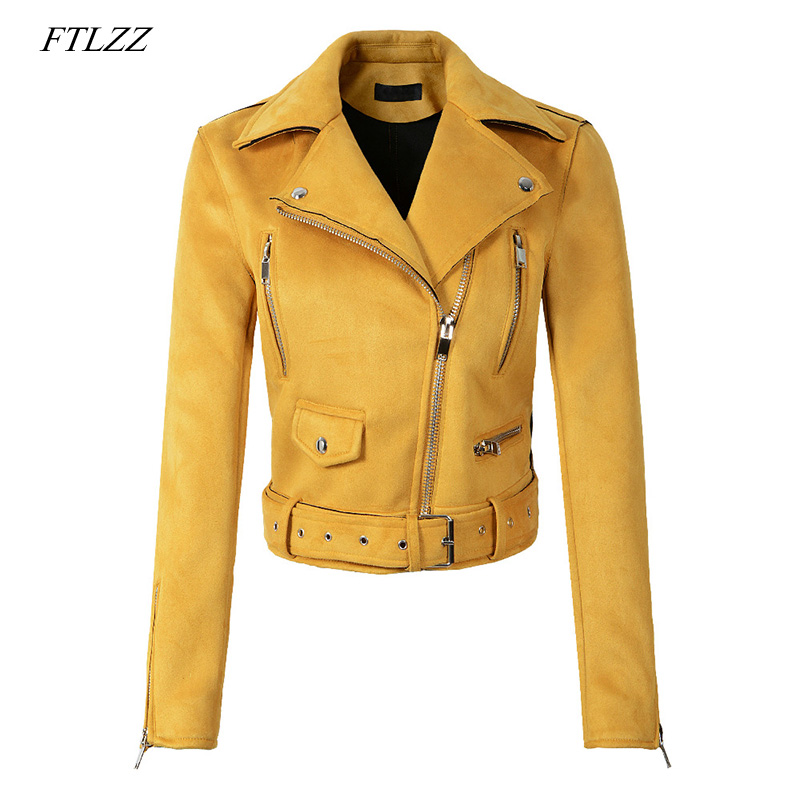 FTLZZ Women Faux Soft Leather Suede Jacket Yellow Green Coat Lady Motorcycle Punk Black Jacket Short Zipper Design Suede Coats