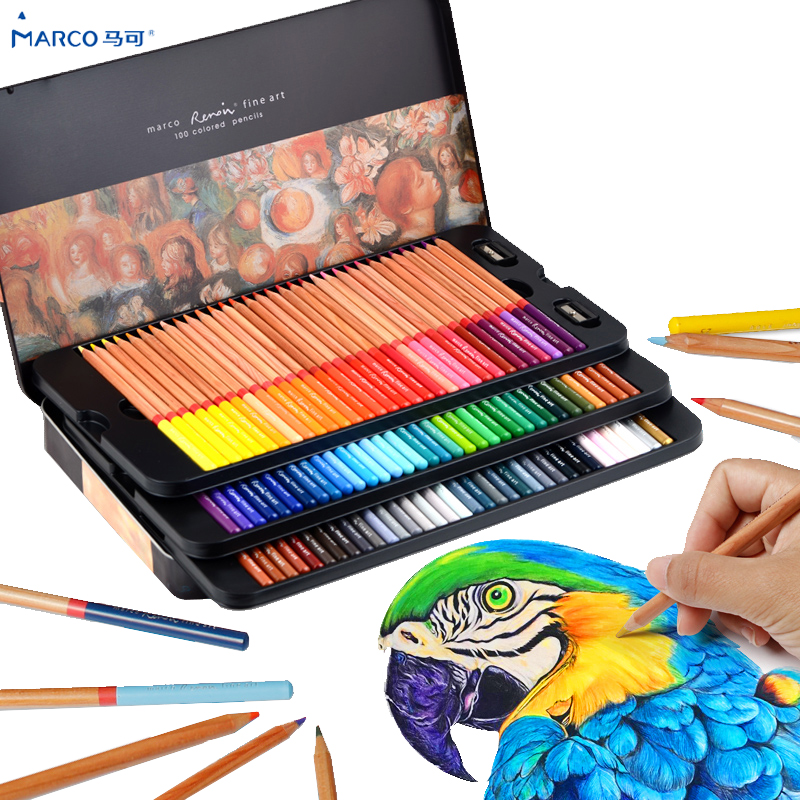 Colored Pencils 48 Colors Marco Color Pencils Lapis De Cor Profissional Colored For Drawing Sketch