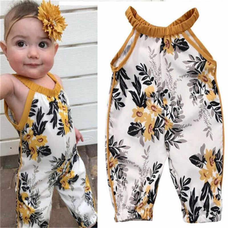 28403a1eecb Flower Baby Overalls Summer Spring Infant Pants Jumpsuit Baby Boy Girl  Sleeveless Trousers Children Cotton Pant