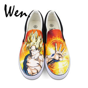 Wen Canvas Sneakers Hand-Painted-Shoes Slip Graffiti Flat Mens on Painting Dragon-Ball