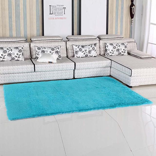Fluffy Rugs Anti Skiding Shaggy Area Rug Dining Rooms Carpet Floor Mats Blue