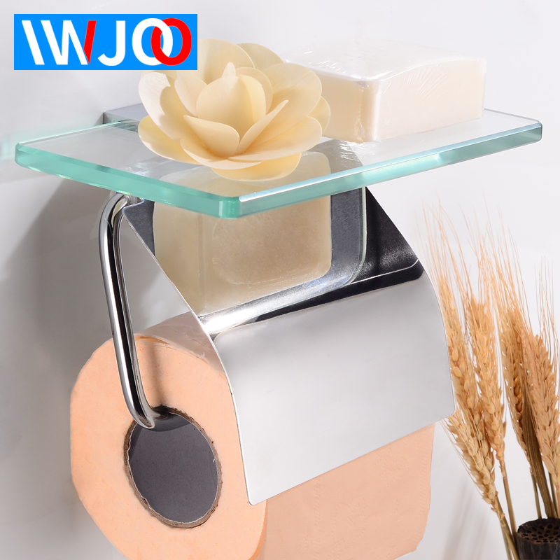 Bathroom Roll Paper Holder Decorative Toilet Paper Holder with Shelf Cover Brass Glass Paper Towel Holder Rack Wall Mounted
