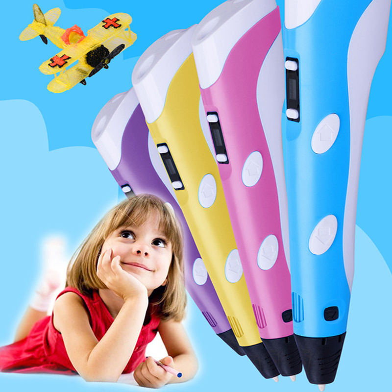ФОТО Children 3D Second Generation Drawing Pen Doodle Make Plastic With ABS/Filament Magic Toys Free Nozzle Printer Tablet Lcds Toys