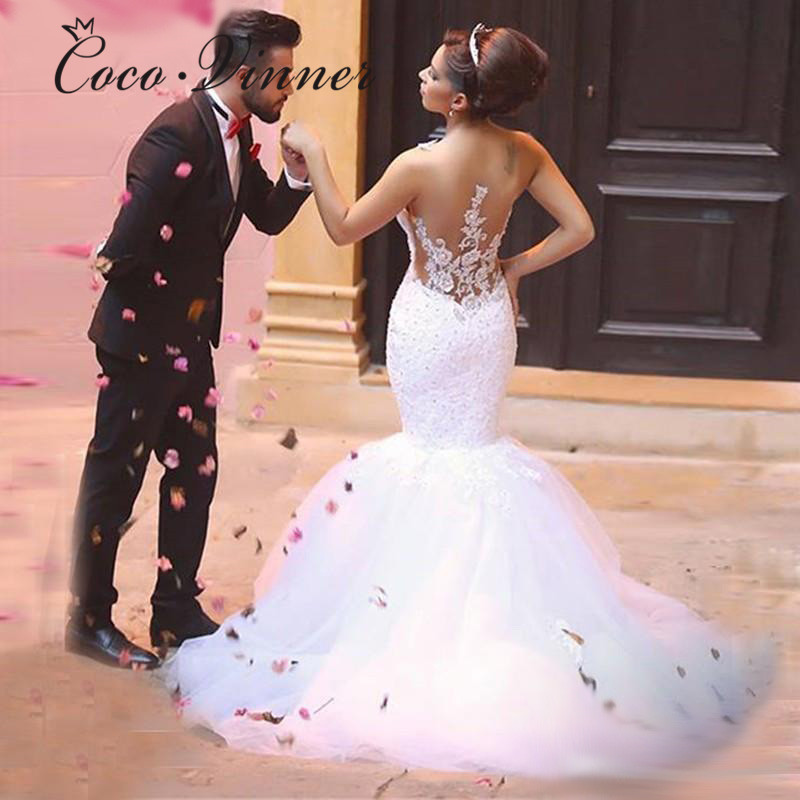 African Bride Wedding Dress  Crystal Beading Lace Appliques Tulle Mermaid Wedding Dresses Illusion Back Wedding Gowns W0239