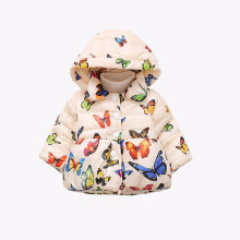 Winter Jackets For Girls 2017 Fashion Butterfly Printed Baby Girl Winter Coat Hooded Warm Cotton Children's Parkas