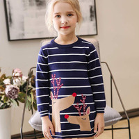 51155efb9 Toddler Kids Baby Girls Christmas Santa Deer Stripe Winter Knit Dresses  Cotton Knitted Jumper Pullover