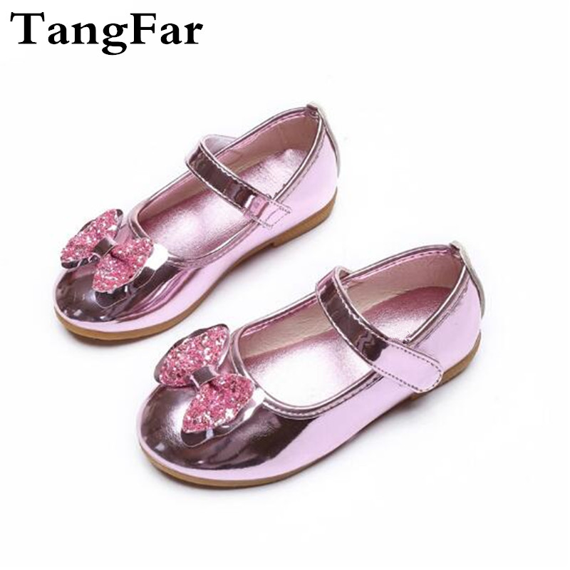 Girls Leather Shoes Bowtie Crystal Non-slip Children Wedding Shoes Loafers  Baby Girl Princess Mary Jane Shoes 6115e40bc80d