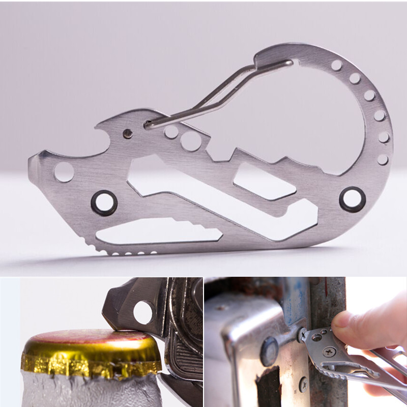Multifunctional Tool EDC Stainless Steel Outdoor Camping Hiking Key Holder Clip Keychain Quickdraw Outdoor Tools Bottle Opener
