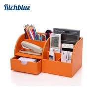 Hot Sale 5 Slot Home Office Decor Desktop Leather Storage Box Case Organizer For Remote Controller