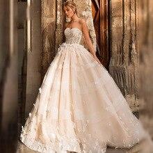 Eightree Wedding Dress 3D Butterfly Appliques Princess Strapless A-Line vestido de noiva Lace Up Robe De Mariage