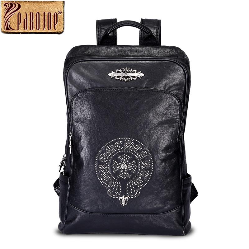 Pabojoe Mens 100% Genuine Leather Backpack Rucksack Women's Shoulder Bag Travel Holder 14inch 15.6inch Laptop Mochila pabojoe women mens school backpack italian 100