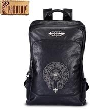 Pabojoe Mens 100% Genuine Leather Backpack Rucksack Women's Shoulder Bag Travel Holder 14inch 15.6inch Laptop Mochila