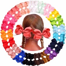 цена на 20pcs Baby Girl Large Ribbon Hair Bows Clips Accessories for Toddlers Kids Women