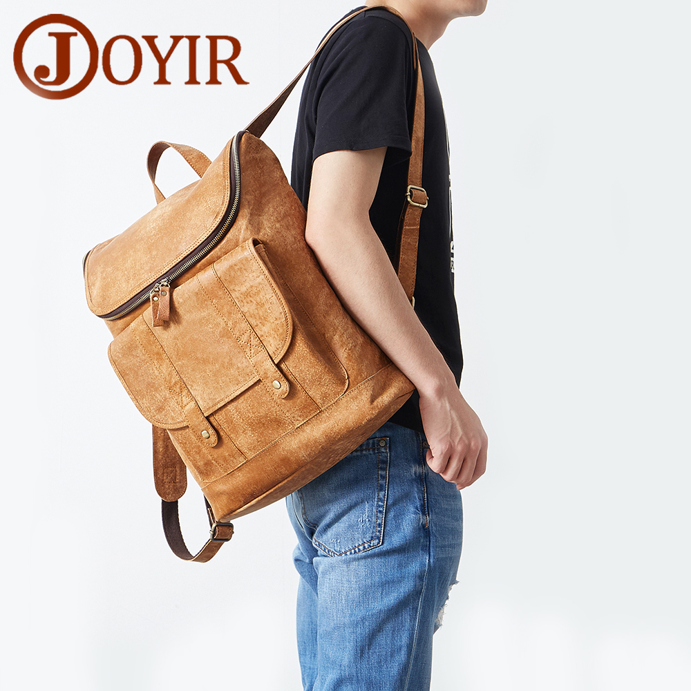 JOYIR Mens Genuine Leather Backpack Male Travel Mochilas School Daypacks Business 14 Laptop Shopping Bag