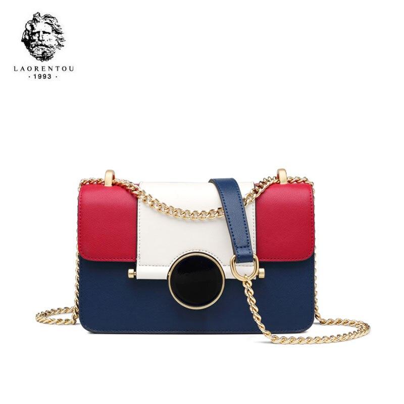 LAORENTOU 2019 nouvelles femmes sacs en cuir épissure mode luxe en cuir sacs à bandoulière pour femmes en cuir sac à bandoulière bleu avec rouge