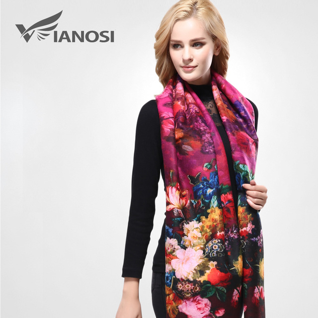 [VIANOSI] New Women Scarf Digital Printing Flowers Scarves Thicken Warm Shawls Wool Cashmere Brand Scarf Woman Wrap VA071