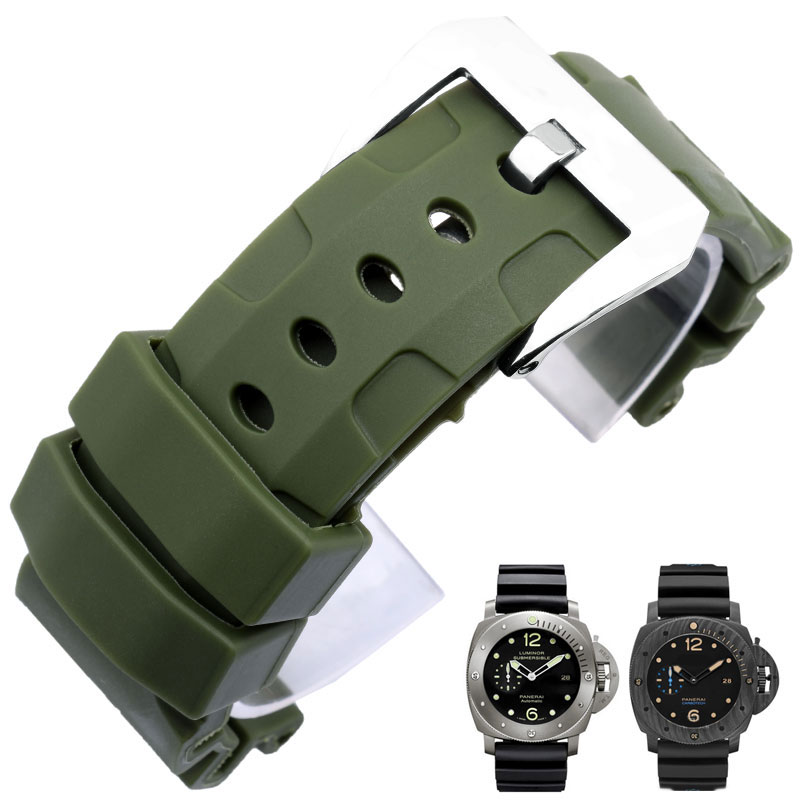 Rubber strap 24mm 26mm Black gray green orange men waterproof sweat proof silicone strap Panerai Pam 111 wristband accessories lukeni 24mm camo gray green blue yellow silicone rubber strap for panerai pam pam111 watchband bracelet can with or without logo