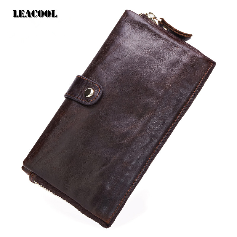 Leacool 100% Genuine Leather Wallet Men Long Vintage Cow Leather Casual Purse Brand Design High Quality Wallets Cell Phone Bag brand design men luxury individuality vintage long wallet skull style genuine cow leather purse men s clutch handy phone bags