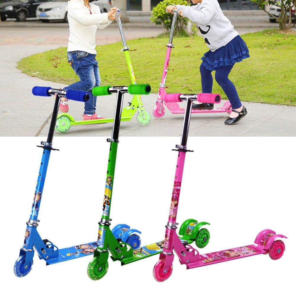Enfants kick scooter bébé Pliable impression PU 3 roues LED en plein air sport Bodybuilding 3-15years vieux pour enfants et enfants