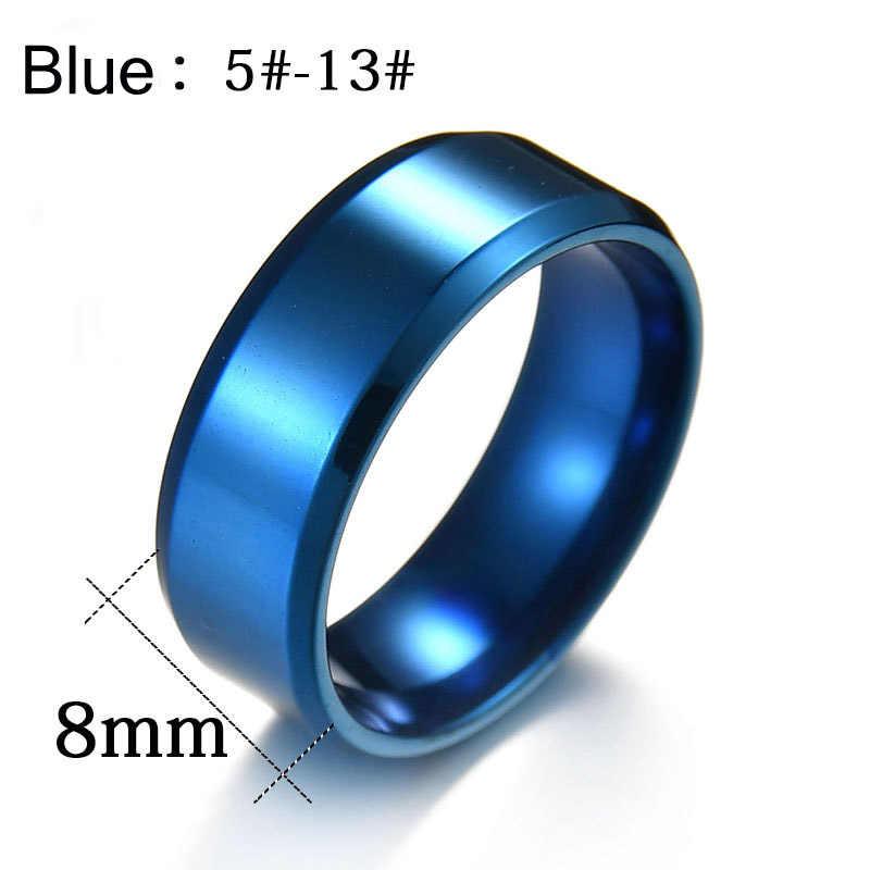 ELSEMODE anillos de acero inoxidable de titanio de alta calidad negro para hombres oro plata azul Multi Color Smart US tamaño 5-13