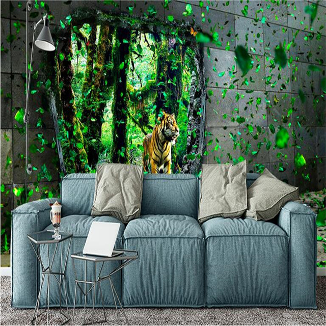Beibehang Grand Fond D Ecran Personnalise 3d Jungle Tigre Dynamique