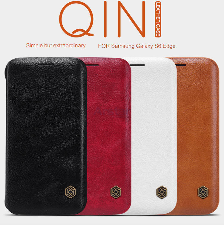 For Samsung Galaxy S6 Edge Leather Case Original Nillkin Qin Classical Leather Case
