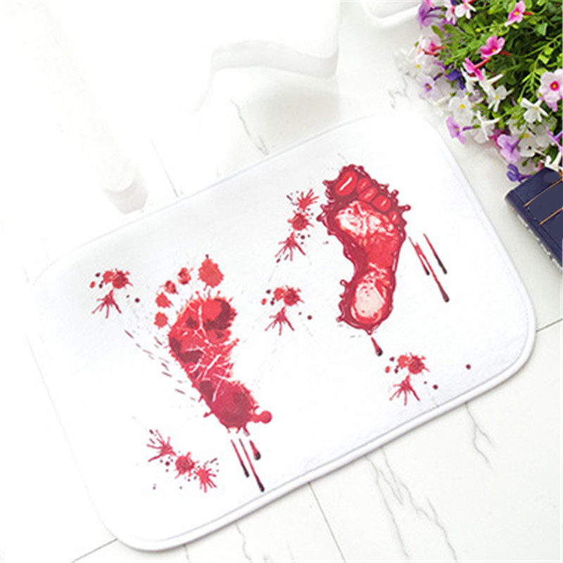 1pc Creative Blood Bath Mat Bathroom Water Slippery Toilet Carpet Floor Mat Terrorist Bloody Footprint Rug Kitchen Mat 40*60cm 4