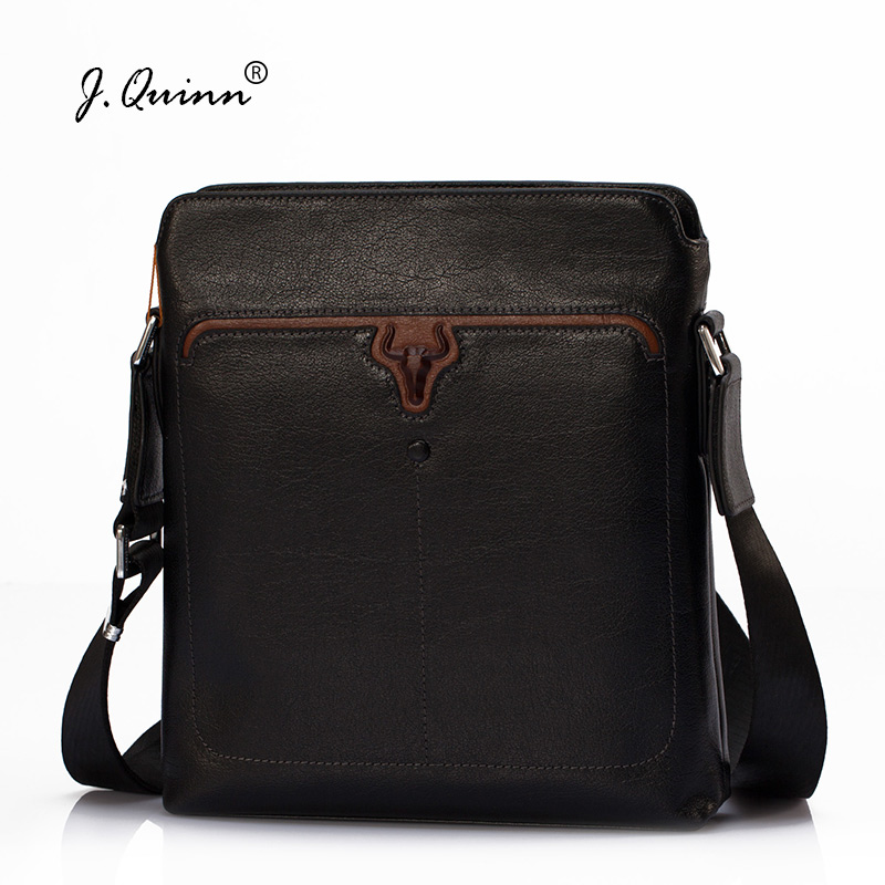 J.Quinn Strap Crossbody Shoulder Bag for Men Genuine Leather Casual Messenger Man Bags Business Fashion Quality Cow Leather 2018