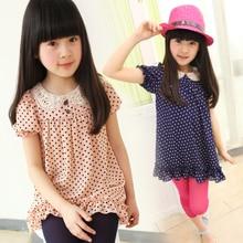 Summer children's clothing female big boy polka dot puff sleeve t-shirt shirt child cute short-sleeve chiffon shirt