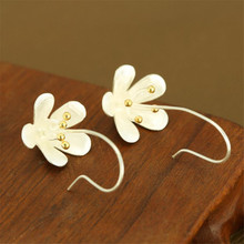 YKNRBPH S925 Sterling Silver Flower Earings Elegant long Drop Earring For Womens Fashion Fine Jewelry