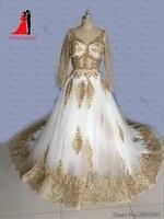 New Arrival White Gold Lace Appliques Muslim Wedding Dresses Lace Long Sleeve Vestido De Noiva Beading