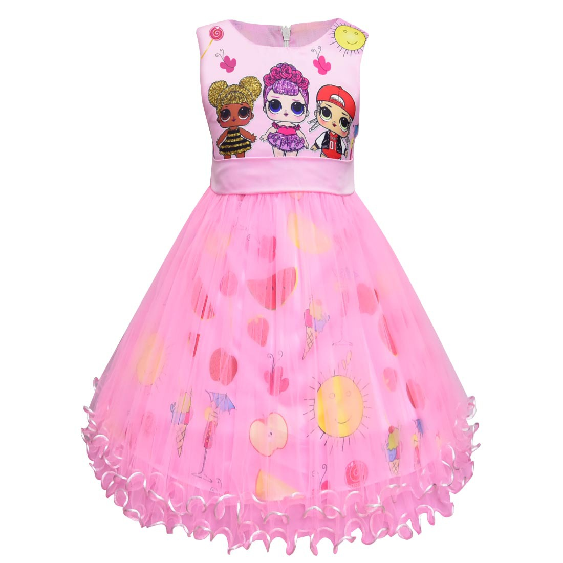 Girl Princess Birthday Party Ruffle Mesh Kids Dresses For