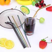 Palhas bebendo do metal 3 pces palha de aço inoxidável colorida com escova de limpeza palha reusável para acessórios bebendo da barra do suco