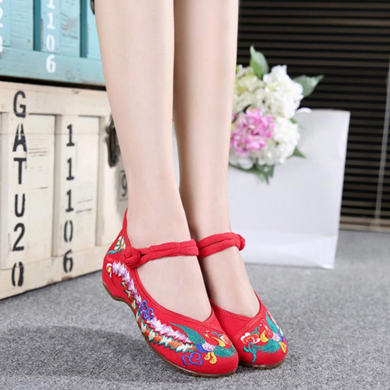 Fashion Women Shoes Lady Old Peking Phoenix Flower Folk Embroidery HOT Chinese National Style Flat Shoes