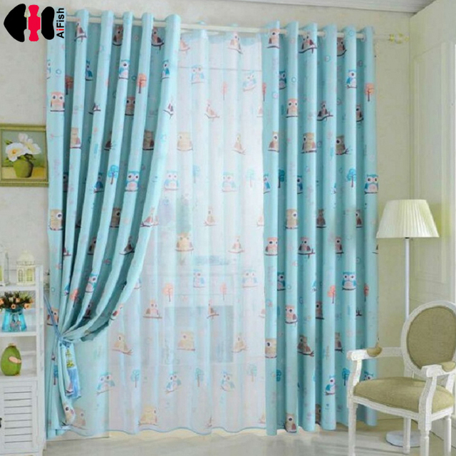 Contemporary Owl Printed Blue Yellow Curtains for Children fabric nursery cloth Sheer tulle curtains for baby room Lovely - Model Of Nursery Curtains Elegant