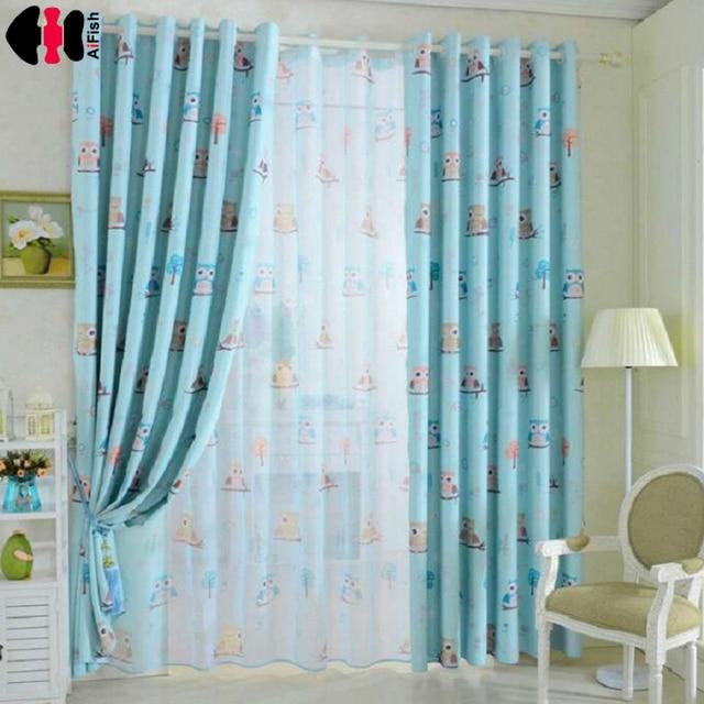 uil gedrukt blauw geel gordijnen voor kinderen stof nursery doek sheer tule gordijnen voor baby slaapkamer