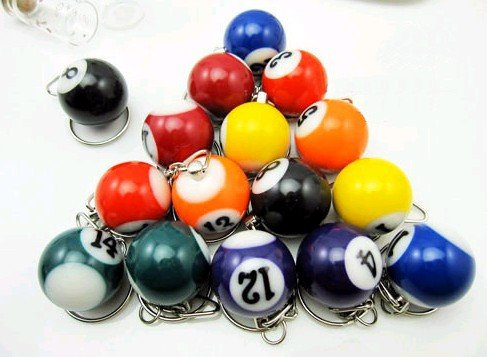 mini ball Pool Billiards snooker table ball keychain the same material as the real BILLIARDS great gift man