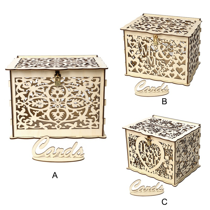 Wooden Money Box with Lock DIY Wedding Gift Card Box Beautiful Wedding Decoration Supplies for Birthday Party|Wedding Card Boxes| |  - title=