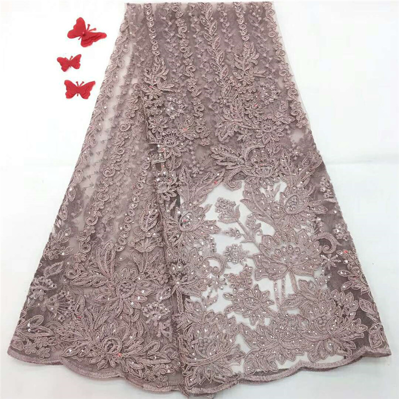 Pink African lace fabric embroidered flower net lace high quality Nigerian lace fabric with stone for