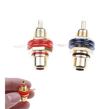 1 Pair New RCA Female Socket Connector Chassis Panel Mount Adapter Audio Terminal Plug(China)