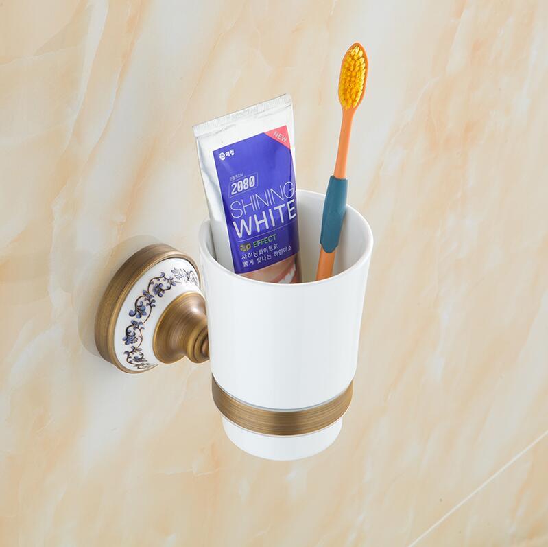 ФОТО Bathroom Accessories,Fashion Ceramics Antique Brass Finish Toothbrush Tumbler&Cup Holder,Creative Design,wall mounted Bath