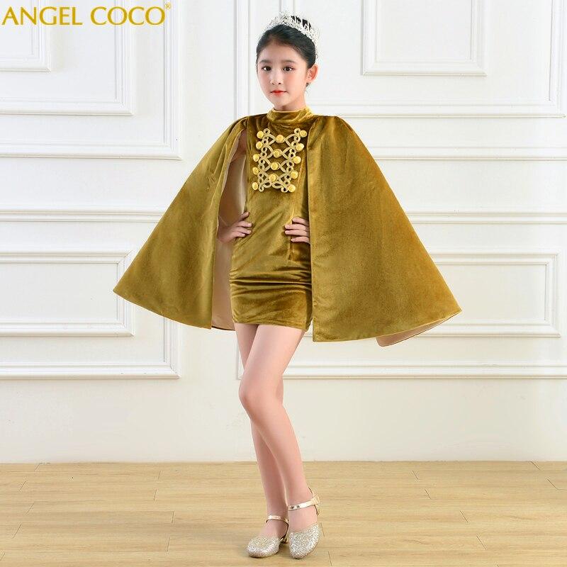 Enfants fille Costum dubaï Abaya Robe de soirée Festa dos nu Fiesta Velours Capes Robe de soirée élégante 2019 Abendkleider Robe Velours - 3