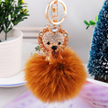 Lion Animal Rhinestone Keychains Genuine Fox Fur Ball Keychain for Keys Car Key Chain Ring Pendant For Women Bag Charm f359